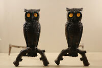 Antique Cast Iron  Figural Owl Andirons Fireplace Decorations Amber Glass Eyes