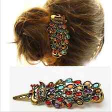 Fashion Vintage Colorful Rhinestone Peacock Barrette Hairpin Hair Clip BYCX49