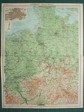 1921 LARGE MAP ~ GERMANY WESTERN SECTION HAMBURG BREMEN HANOVER BERLIN CITY PLAN