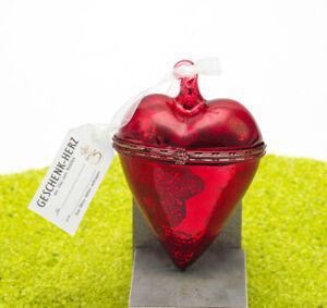 Hergo Zauberhaftes Geschenk Herz aus Glasd zum Befüllen in rot