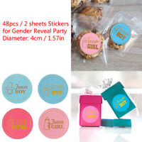 48pcs Team Boy Team Girl Stickers Gift Bag Stickers for Gender Reveal Party gt
