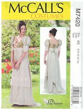 MC CALL'S 7420, MISSES' HISTORICAL COSTUME: SIZE: 6 TO 14; EMPIRE WAIST & TRAIN