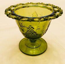 Uranium? Green Depression Glass Vase Dish Acorn Stem Cut Glass Rim Grape Motif