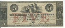 1858 $5 New Jersey Farmers & Merchants Bank Middletown Point VF #2276  Rarity 7