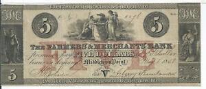 1858 $5 New Jersey Farmers & Merchants Bank Middletown Point VF #2276  Rarity 7