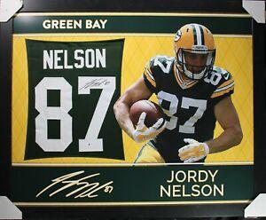JORDY NELSON 35x43 Vinyl Framed Signed/Autographed Custom Jersey - Beckett/BAS