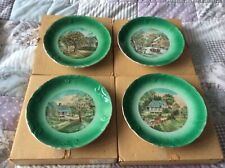 Currier And Ives Vintage Fine Porcelain Series L Plates 4 Seasons New & Boxed