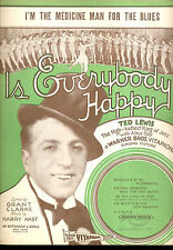 """IS EVERYBODY HAPPY? Sheet Music """"I'm The Medicine Man For The Blues"""" Ted Lewis"""