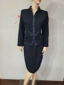 ST JOHN EVENING Size 10 12 Black Blazer Jacket Skirt Suit