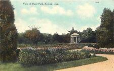 Keokuk Iowa~Trees, Gazebo and Flower Beds in Rand Park 1910 Postcard