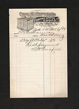 signed 1899 receipt Charles H. Canfield, New York manufacturer of chicken coops