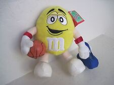 "M&M 8"" Yellow Collectible BASKETBALL Blue Bag Plush Stuffed Doll Toy"