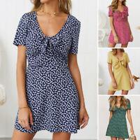 UK Women Short Sleeve V Neck Polka Dot Cocktail Dresses Summer Beach Mini Dress