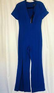 BLACK HALO size 6 royal blue short-sleeve -neck  jumpsuit NEW