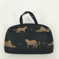 Clinique Cosmetic Makeup Bag Embroidered Cheetah Leopard Handbag