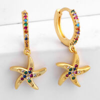 Betsey Johnson starfish earrings multi color enameling GT fish hooks NWT