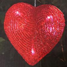 Hanging Red Heart White LED Solar Light Ornament Decoration