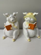 Vtg Fitz & Floyd Who'S Afraid Of The Big Bad Wolf? I Am! Pig Figurines Bank