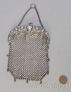 1900 antique STERLING W&D MESH PURSE art nouveau cherub Whiting Davis 153g solid