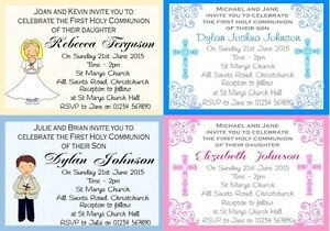 10 Personalised First Holy Communion Invitations/Thank you with envelope
