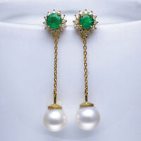 18K Gold 7.5TCW Natural Emerald Freshwater Pearl Diamond Chain Line Earrings