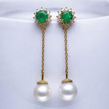18K Gold 7.5TCW Natural Emerald Freshwater Pearl Diamond Chain Line Earrings