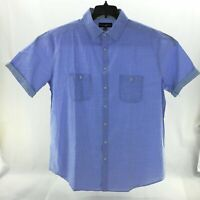 Beverly Hills Polo Club Mens Shirt Big and Tall Blue Button Front Short Sleeve