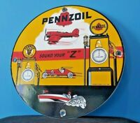 VINTAGE PENNZOIL GASOLINE PORCELAIN GAS OIL LUBE SERVICE STATION PUMP PLATE SIGN