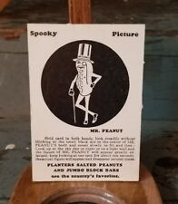 Planters Peanuts Mr. Peanut Spooky Picture Halloween Card Black Ink