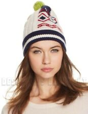 BURBERRY ivory Wool/Cashmere FAIR ISLE cable knit POM-POM beanie Hat NWT Authent