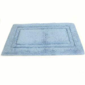 "Gold Coast Double Border Cotton Blue Bath Rug Set of 2 Soft 18"" x 28"""
