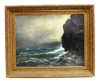 19TH CENTURY OIL ON PANEL STORMY SEASCAPE ROLLING WAVES ROCKY COAST
