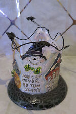 LEFTON Metal Halloween Black Cat, Ghost, Bats & Jack O' Lantern Tea Light Holder