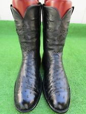 """LUCCHESE CLASSICS """"INLAY"""" FULL QUILL OSTRICH SKIN RARE EXOTIC WESTERN BOOT 11 EE"""