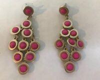Earrings hot pink chandelier drop round beads gold tone pierced fuchsia fun look