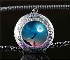 Moonlight Black Cat Cabochon Glass Tibet Silver Locket Pendant Necklace