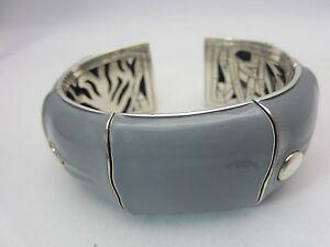 John Hardy Bamboo Kick Cuff Bracelet Gray Enamel 31 mm. Sterling Silver