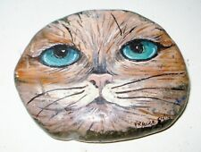VINTAGE 1950'S FRENCH CAT FIGURINE ROCK BEAUTIFUL HAND PAINTED DESIGN NR