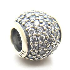 Authentic Pandora S925 Silver Pave Ball Charm with Clear CZ 791051CZ