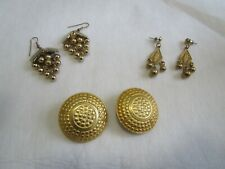 Vintage lot of Funky earrings in Clip on & Pierced Gold tone Disc and Chandelier