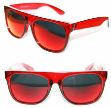 Men's Flat Top Sunglasses Impero Super Clear Red Frame Red mirror Lens Sport