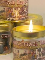 Irish/handmade/hand made/Cottage/Turf/Peat/Fire/Candle/Candles/in/Tin/Tins/New