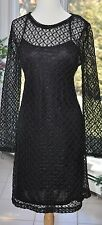 NWT MSRP $415 BEAUTIFUL ALLEN B SCHWARTZ S/L BLACK 2 SLIP / CROCHET DRESS