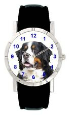 Bernese Mountain Dog Mens Ladies Genuine Leather Band Quartz Wrist Watch SA2157