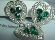 VINTAGE SARAH COVENTRY WHITE EMERALD RHINESTONE HEART NECKLACE EARRINGS SET