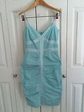 Calvin Klein Women's Light Teal Blue Silk Spaghetti Strap Pin Tuck Dress Size 4