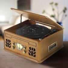 Itek Brown Wood Antique Record CD Radio AM/FM & Cassette Player Music System