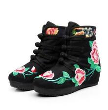 Womens Chinese Folk Embroidered Shoes Wedge Ankle Floral Hidden heel ankle Boots