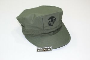 USMC OD GREEN RIPSTOP UTILITY CAP 2 PLY WITHOUT TOP STITCH WITH EGA