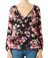 Joie Nadege Silk Top M Floral Print Ruffle Tie V-Neck Long Sleeve Blouse Womens